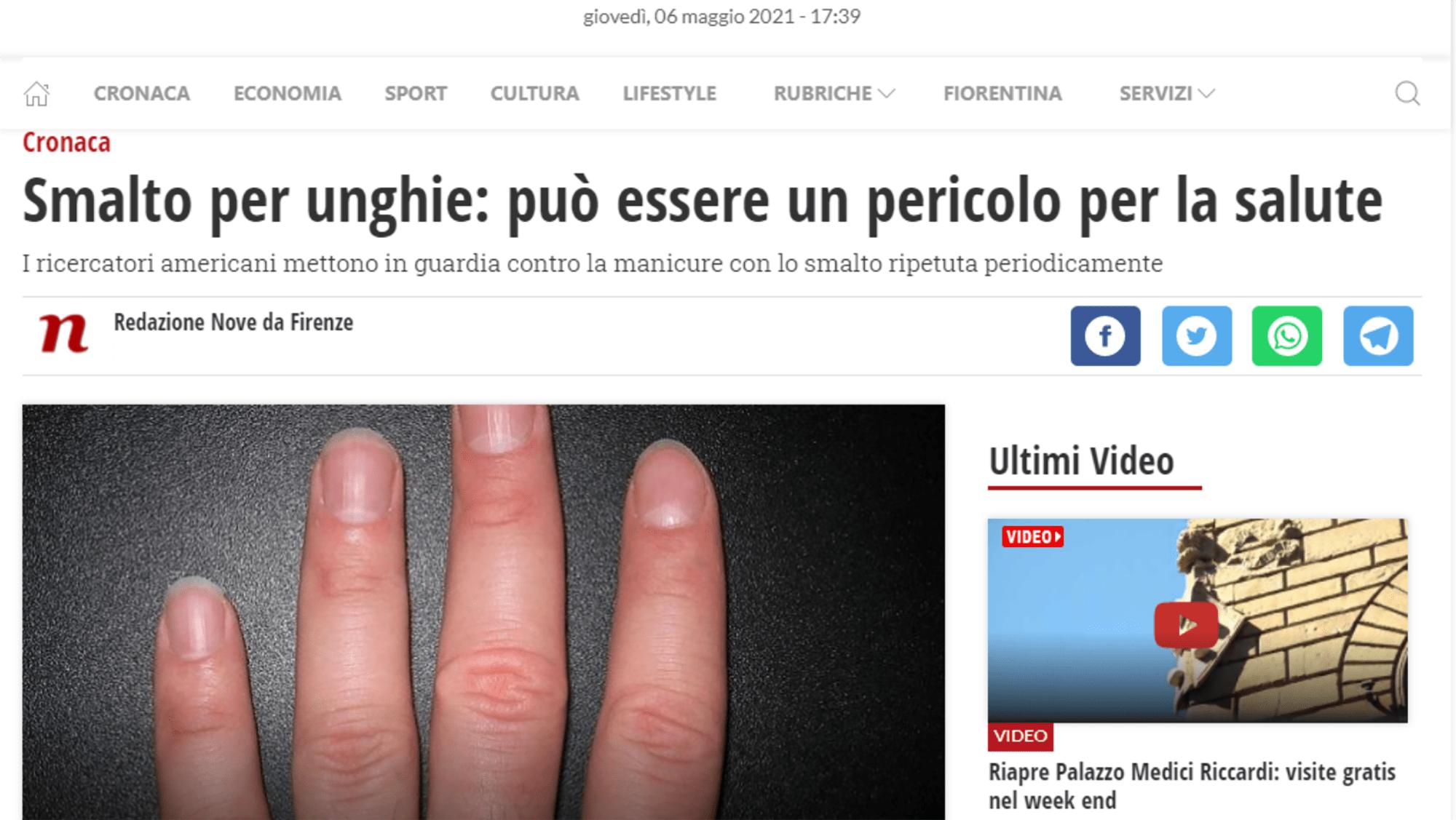 SMALTO PER UNGHIE PERICOLOSO